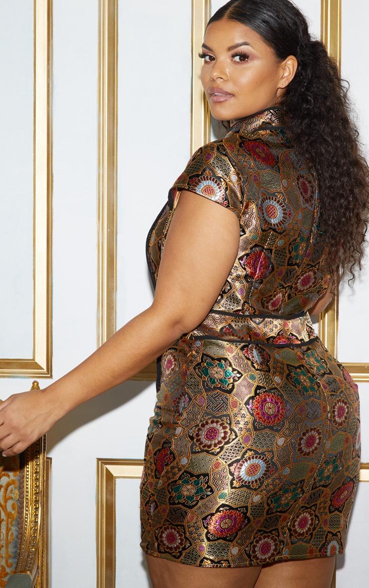 Plus Gold Oriental Jacquard High Neck Bodycon Dress 4