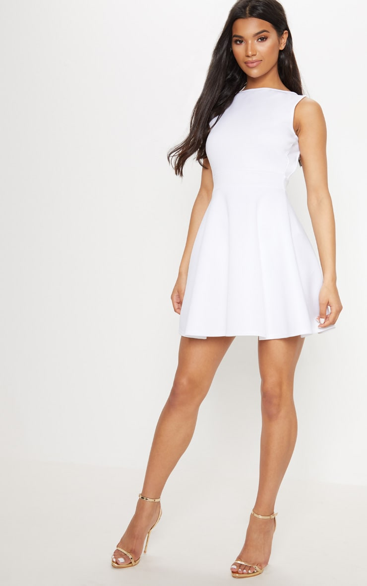 White Strappy Back Skater Dress 4