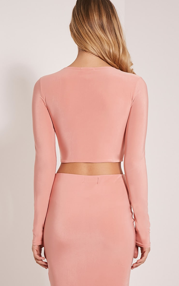 Ameria Blush Lace Up Front Crop Top 2