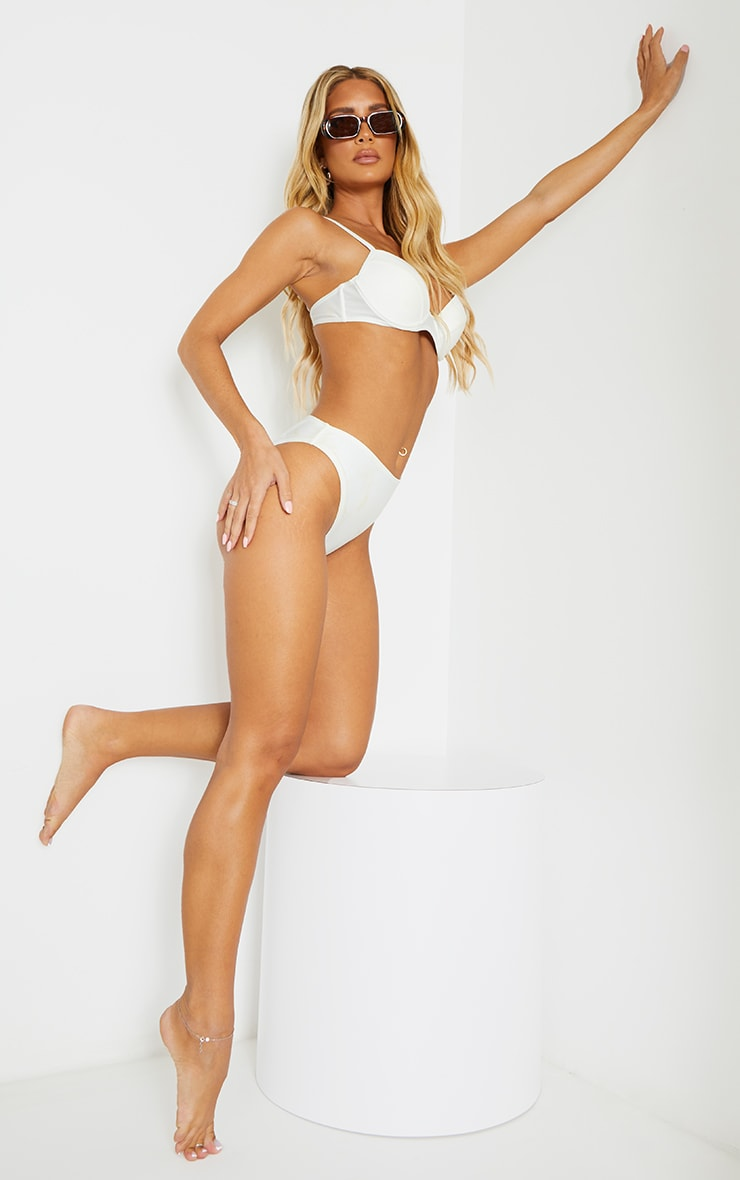 White Mix & Match Recycled Fabric Underwired Bikini Top 3