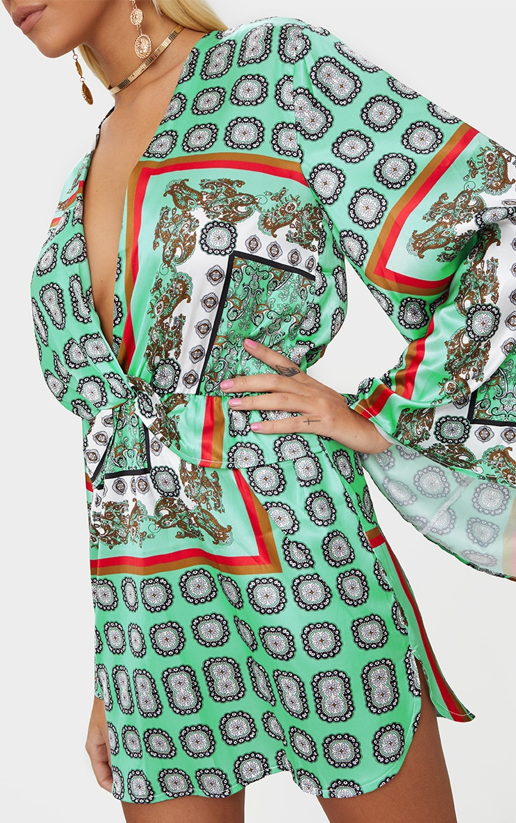 Sage Green Printed Kimono Sleeve Plunge Shift Dress  5