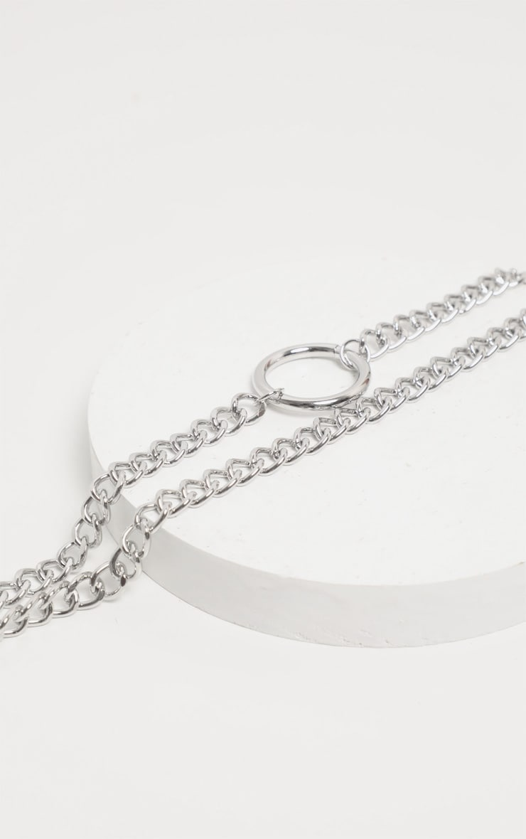 Silver Chunky Chain Double Necklace 3