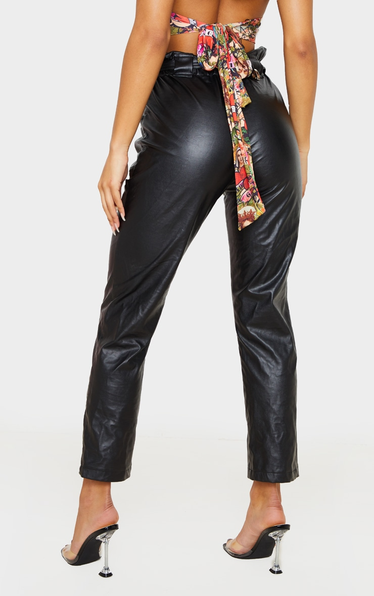 Black Western Belted Faux PU Trousers 5