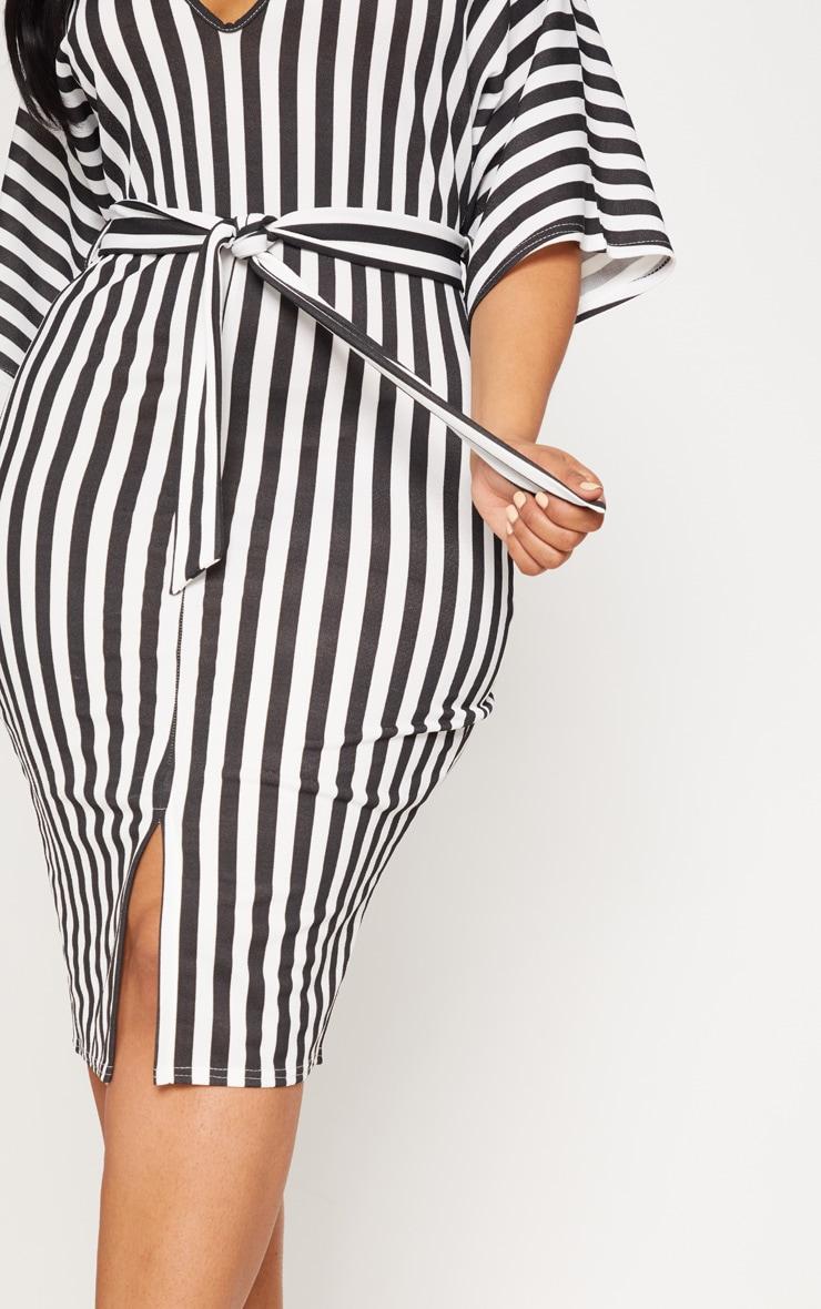 Plus Black Tie Waist Striped Plunge Kimono Sleeve Midi Dress 5