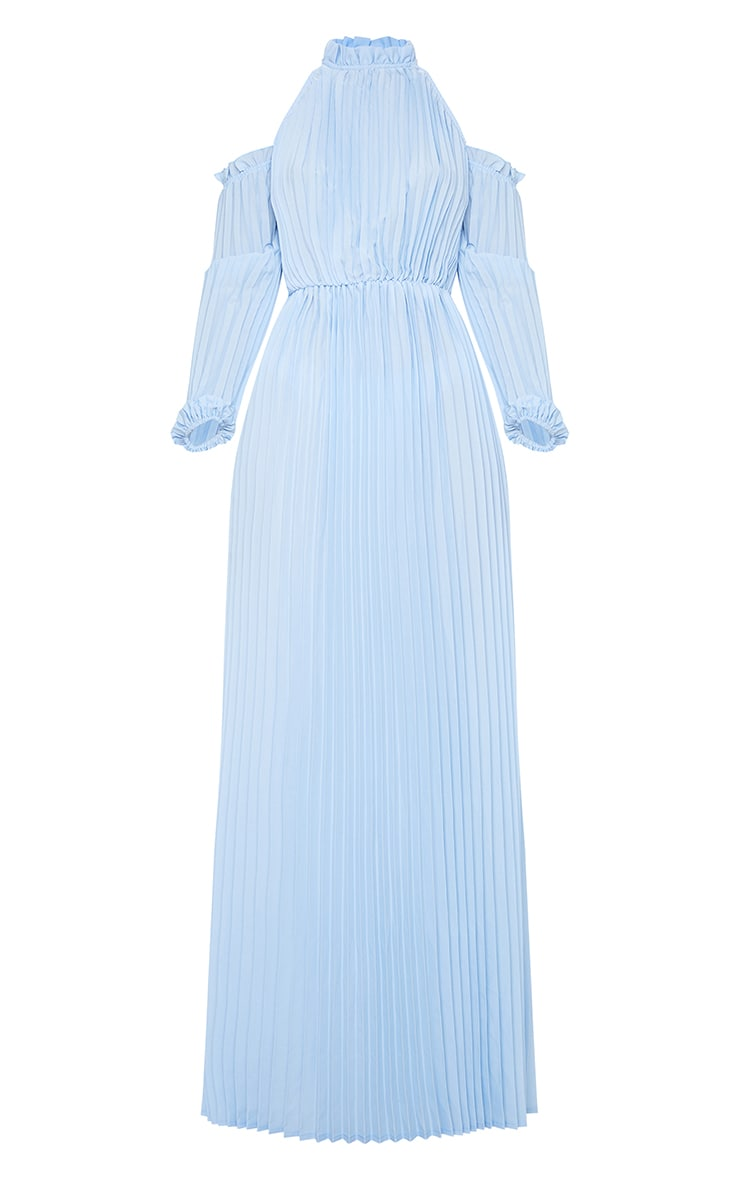 Dusty Blue Pleated Cold Shoulder Maxi Dress 3