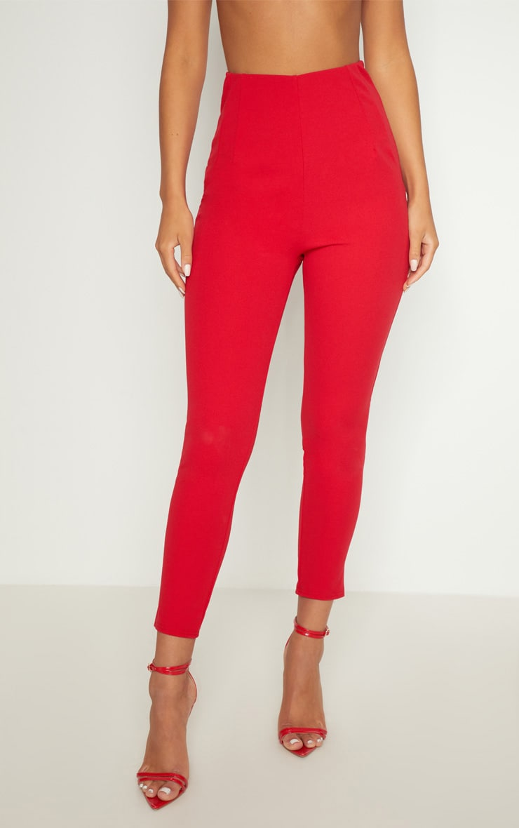 Red High Waisted Pleated Front Detail Trouser 2