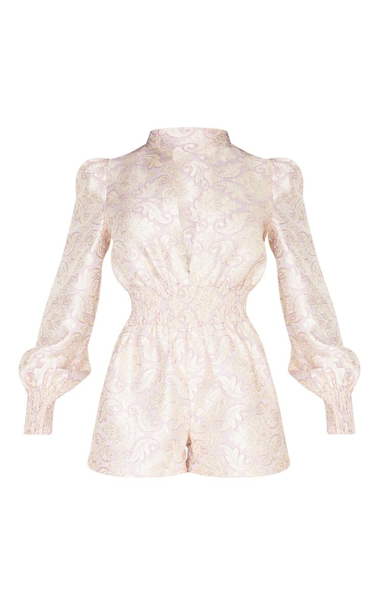 Lilac Jacquard Long Sleeve Shirring Detail Playsuit 3