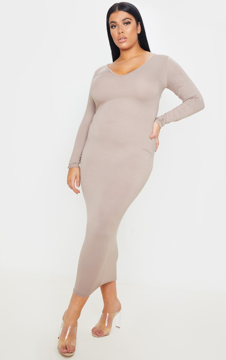 Plus Mocha Jersey V Neck T- Shirt Midi Dress 1