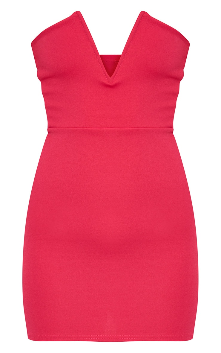 Petite Pink V Plunge Mini Dress 3