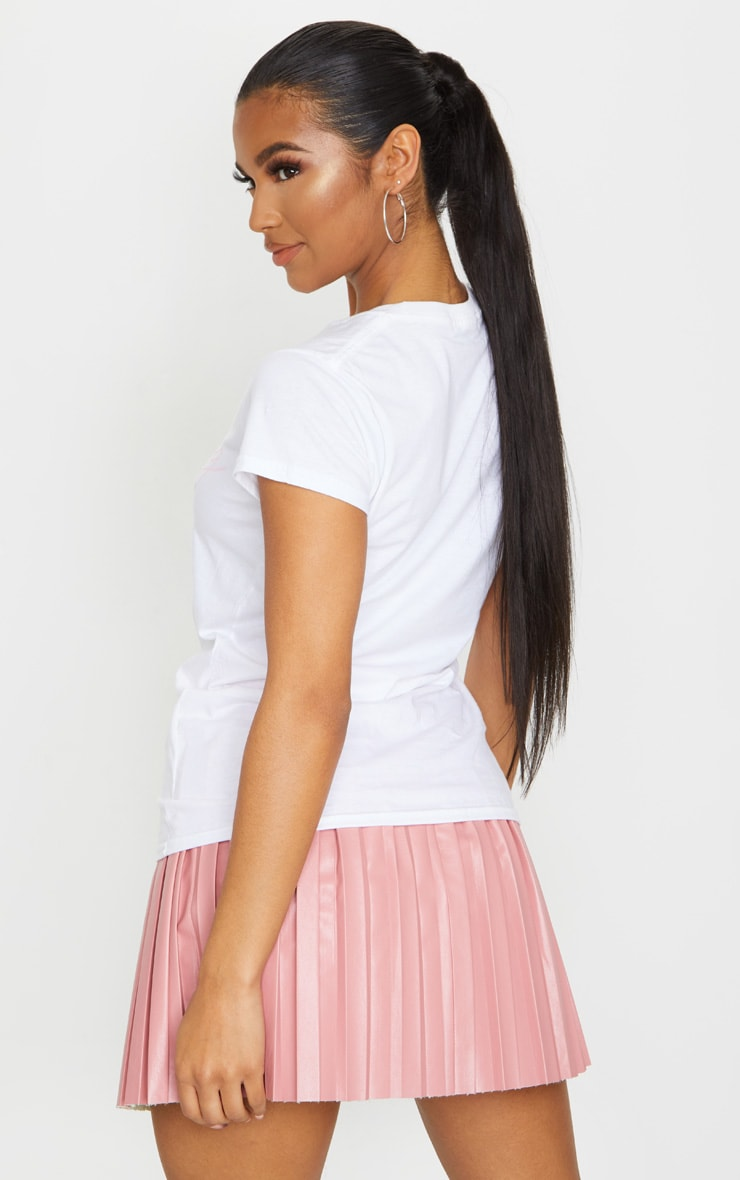 White Darling Printed Fitted T Shirt 2
