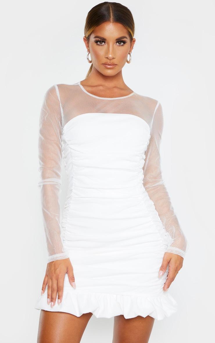 White Mesh Insert Ruched Frill Hem Bodycon Dress 4