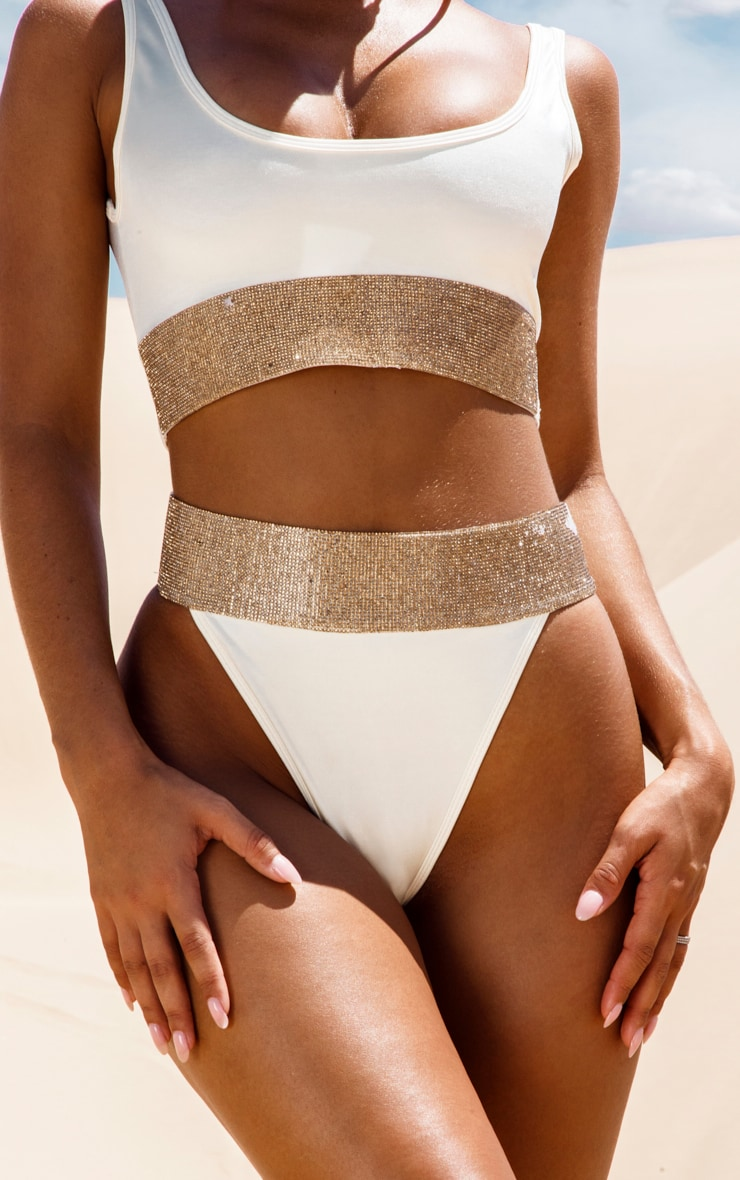 Cream Diamante High Leg Bikini Bottom 6