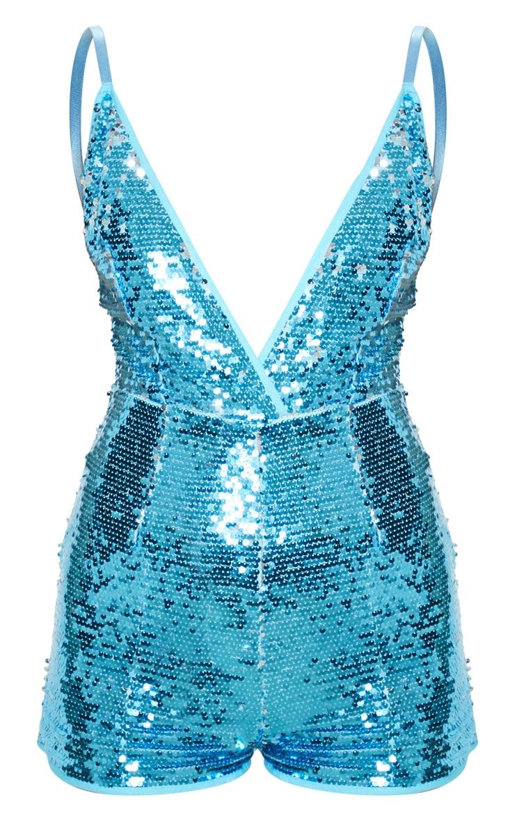 Turquoise Sequin Romper 3