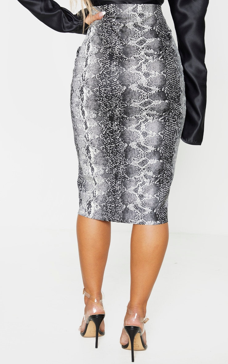 Grey Faux Leather Snake Print Midi Skirt 4