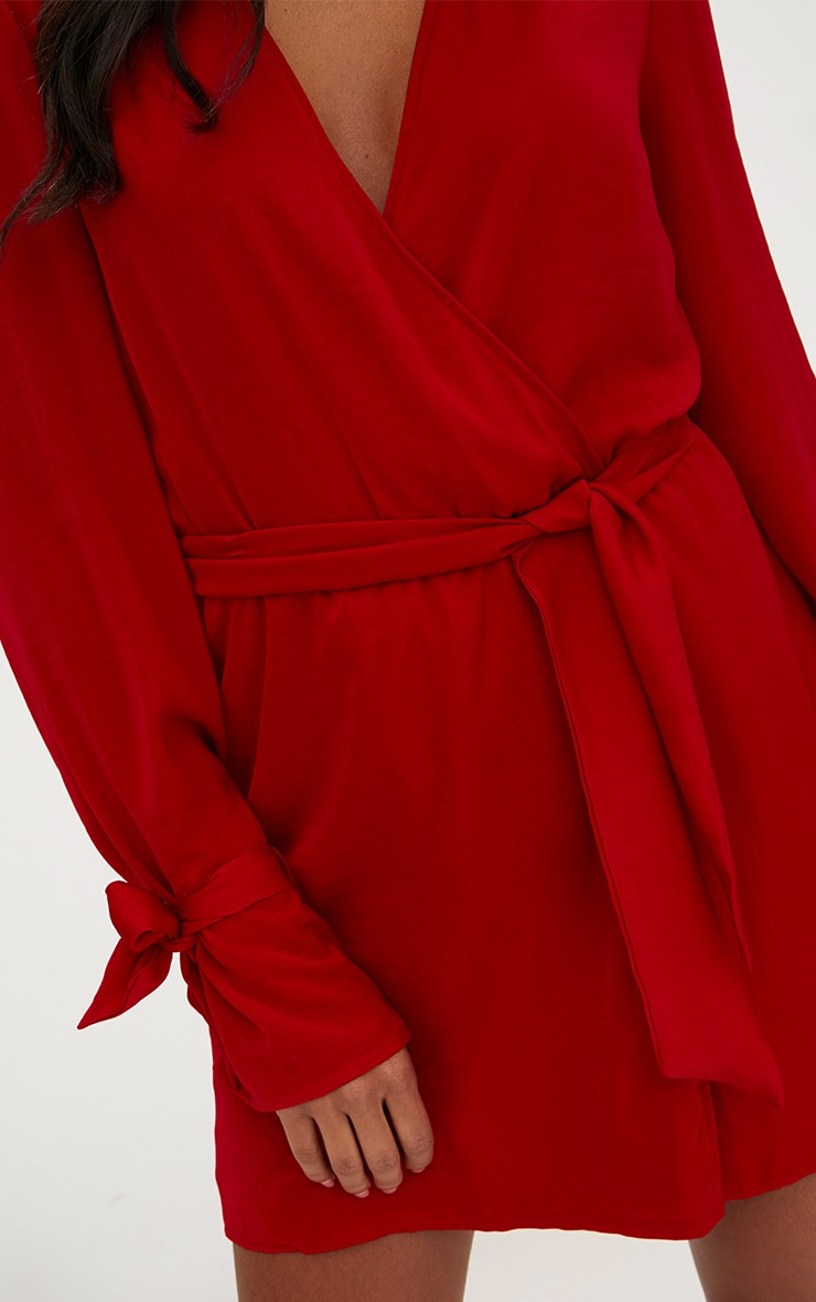 Red Satin Wrap Cuff Detail Shift Dress 4