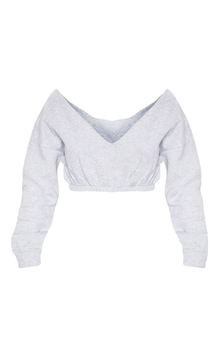 Grey Marl Crop Off Shoulder Sweater  3