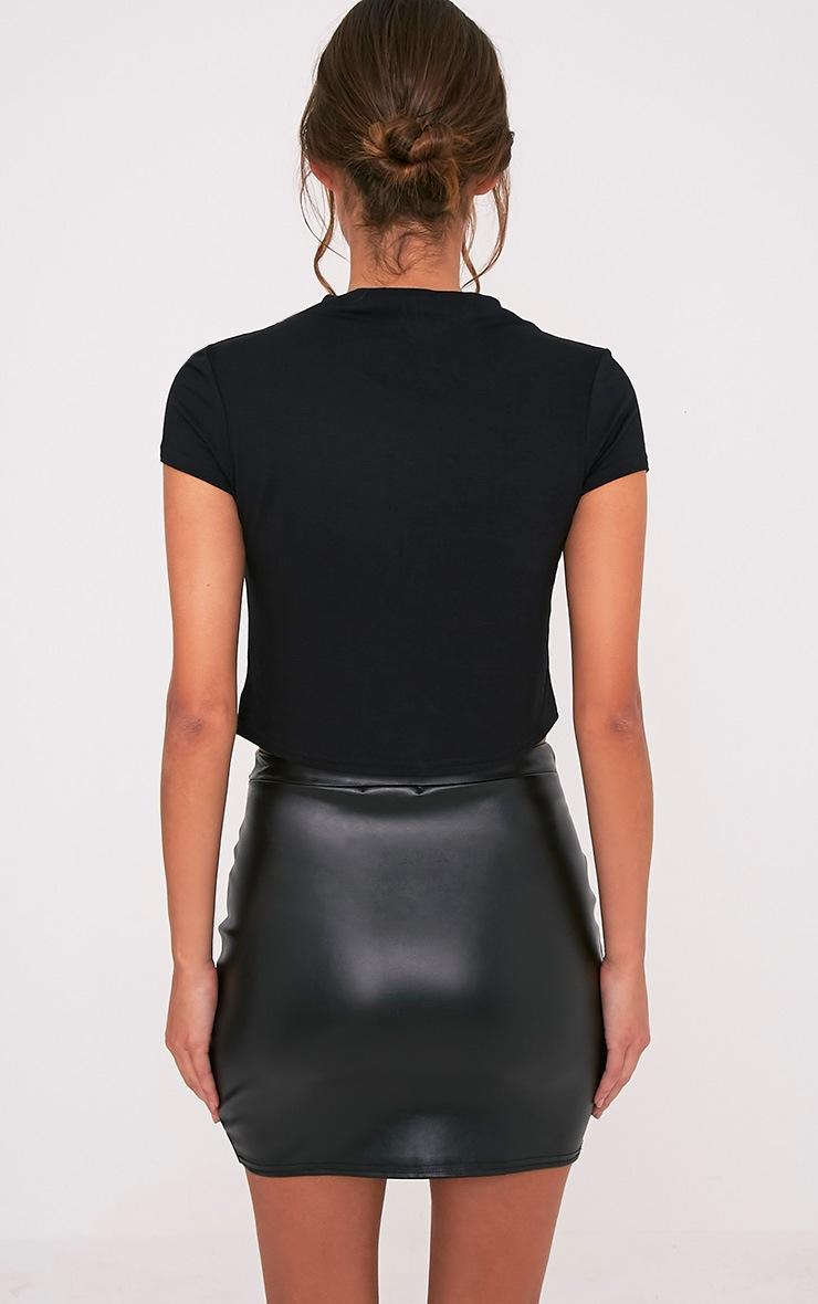 Basic t-shirt court à col montant noir 2