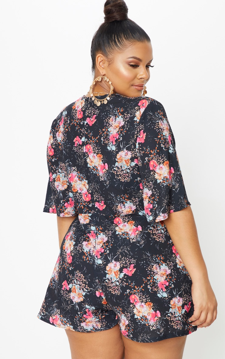 Plus Black Floral Tie Waist Playsuit 2