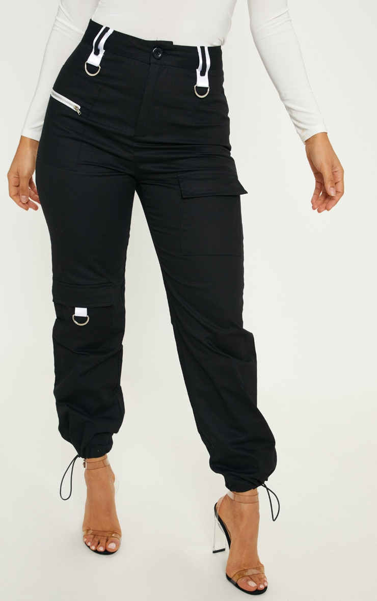 Black Pocket Detail Cargo Trouser 2