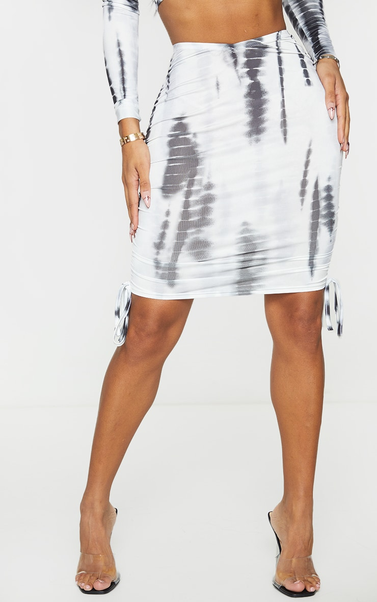Shape Black Tie Dye Ruched Side Bodycon Skirt 2