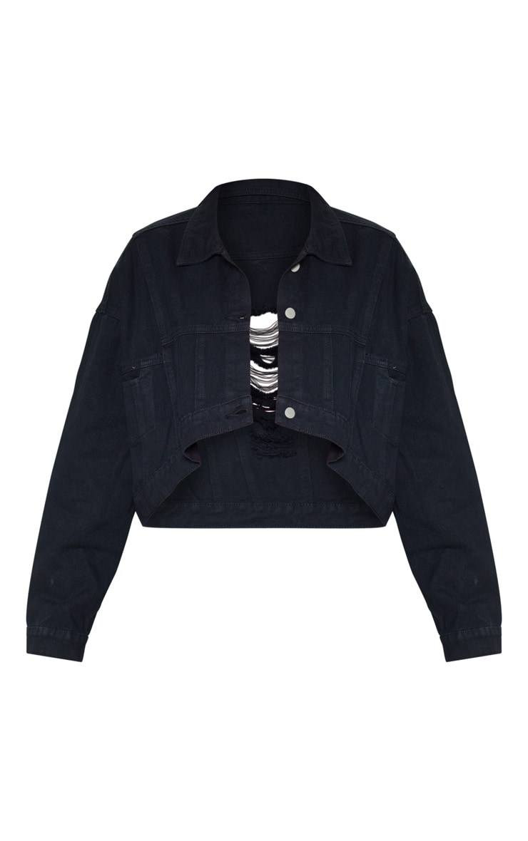 Black 4 Pocket Oversized Denim Jacket 3