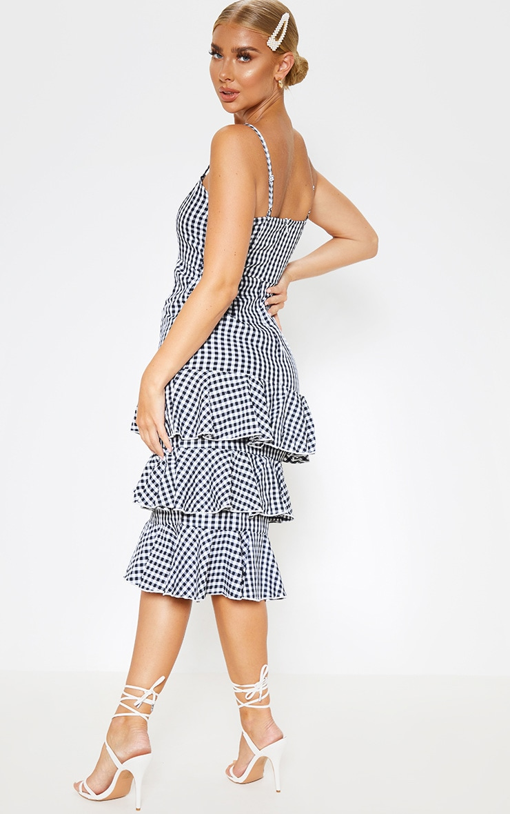 Monochrome Gingham Ruffle Tiered Midi Dress 2