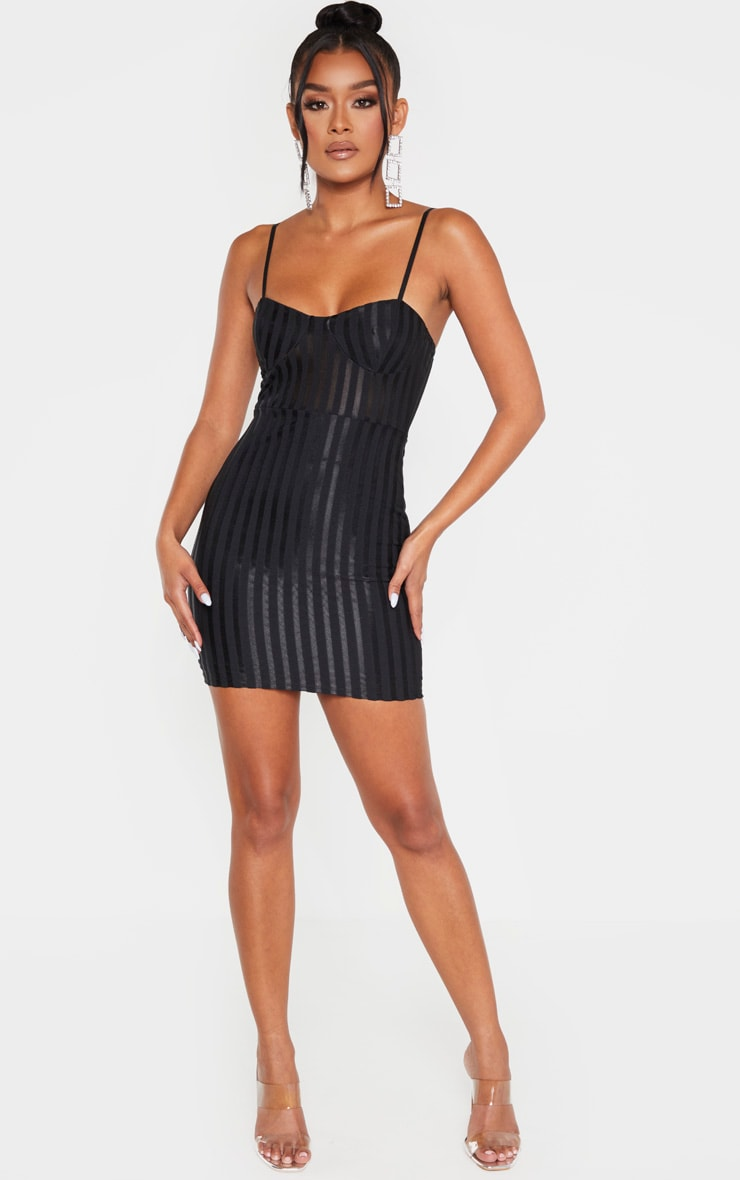 Black Strappy Cup Detail Striped Bodycon Dress 5