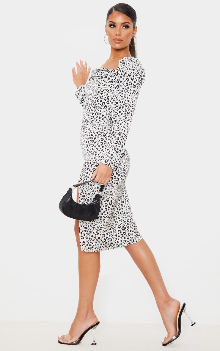 White Leopard Square Neck Long Sleeve Midi Dress 3