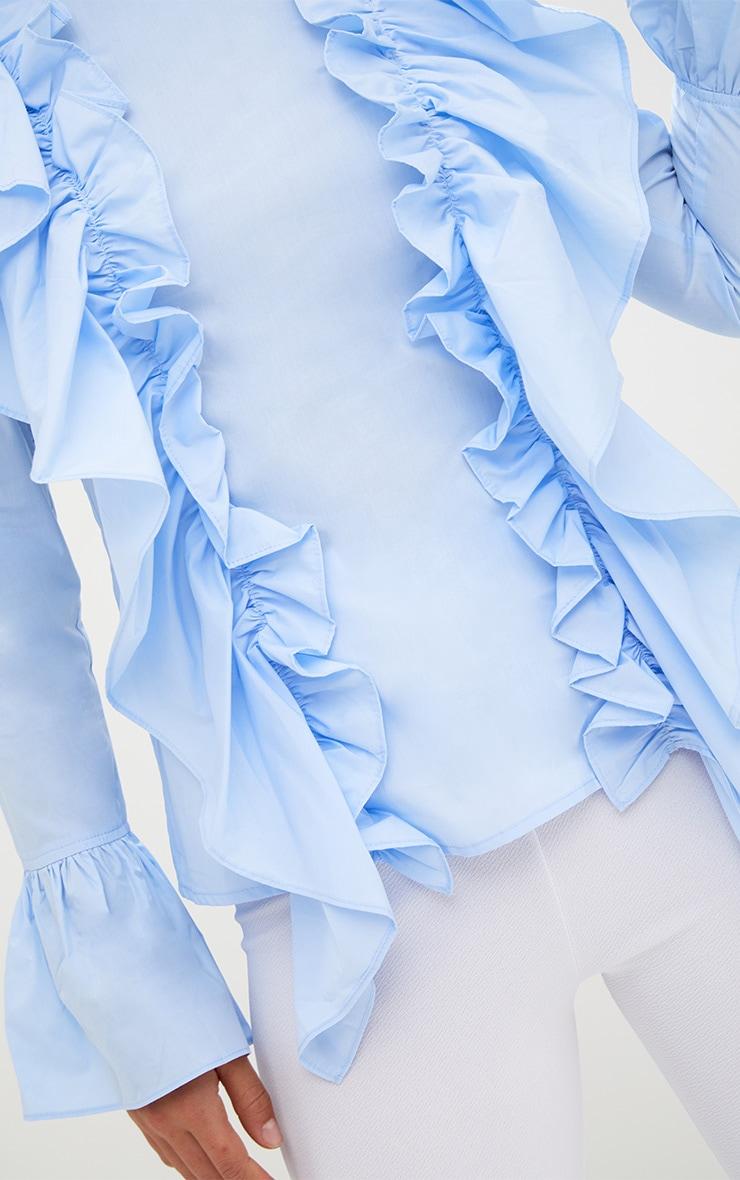 Blue Ruffle Frill High Neck Shirt 5