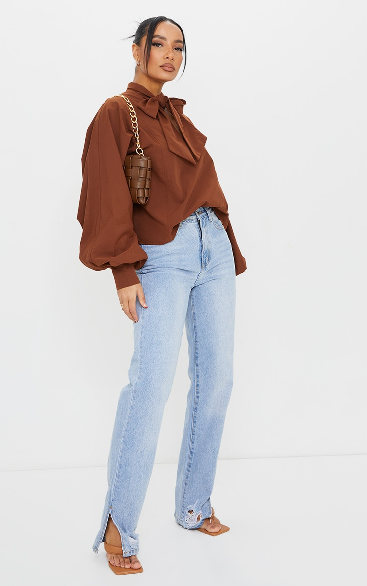 Chocolate Woven Plunge Pussy Bow Blouse 1