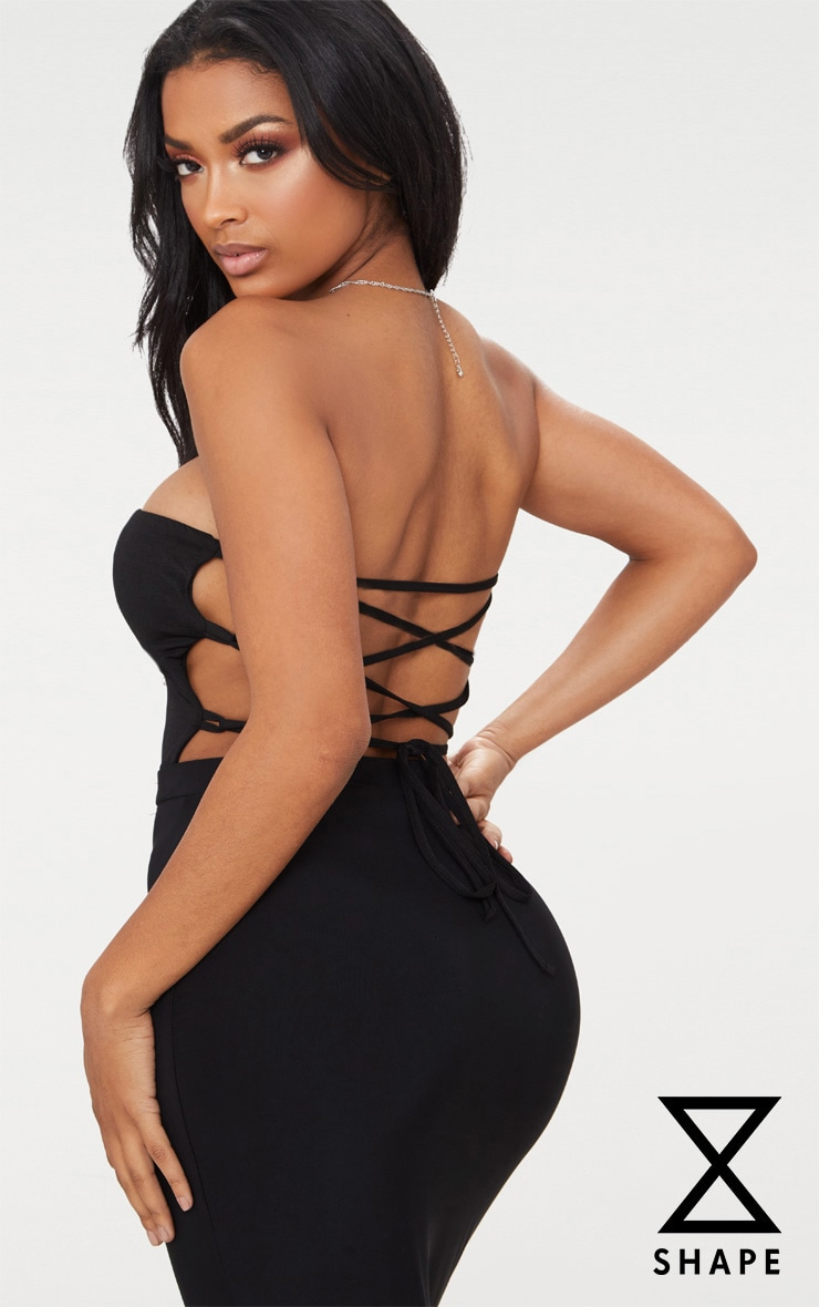 Shape Black Slinky Strappy Back Bandeau Bodysuit 1
