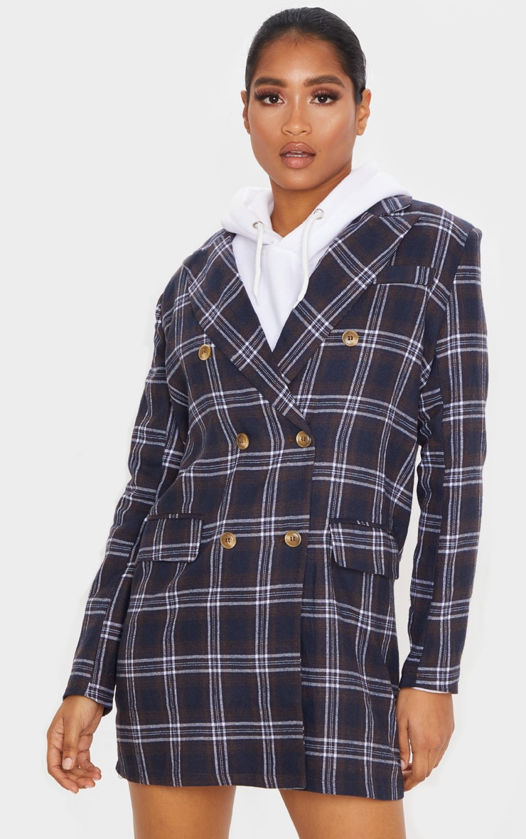 Chocolate Check Print Button Front Detail Oversized Blazer Dress 1