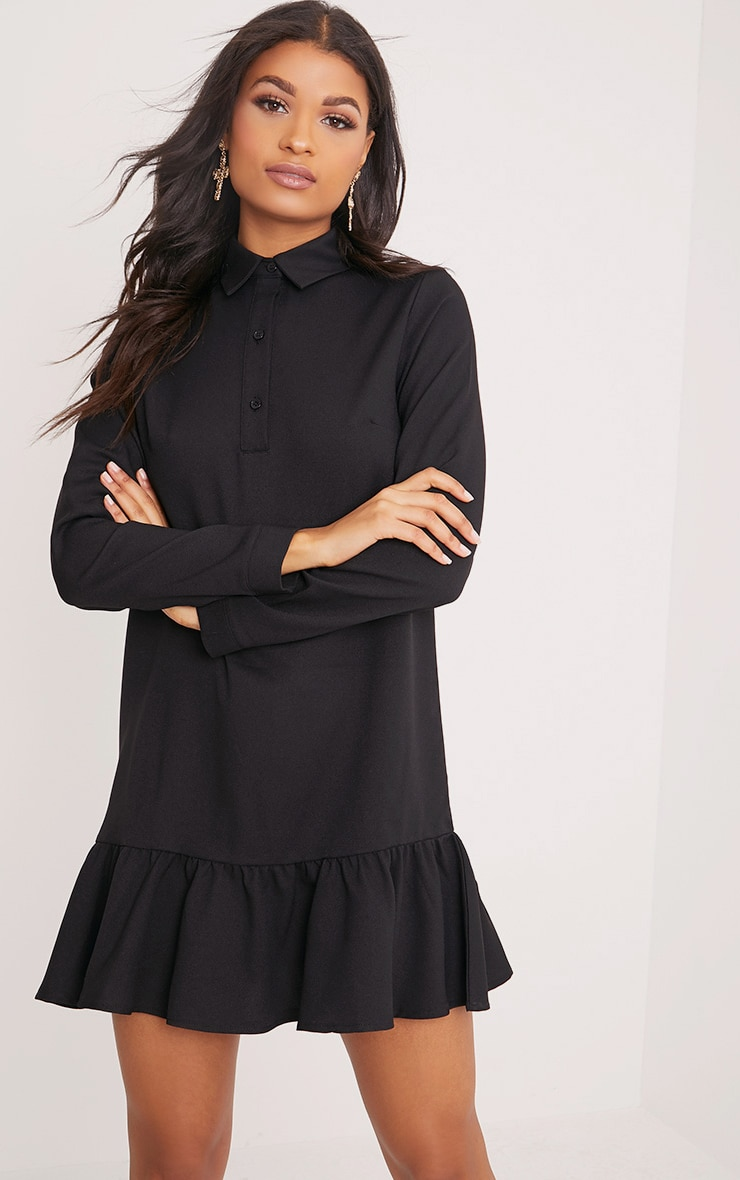 Kiera Black Frill Hem Shirt Dress 1