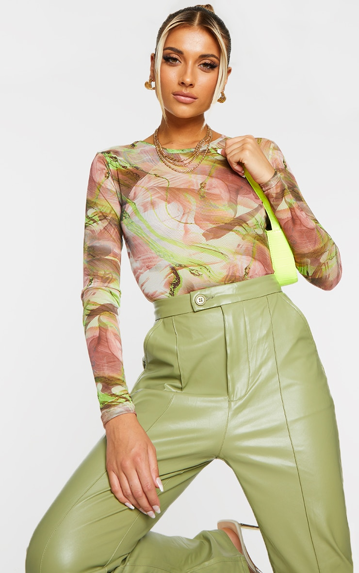 Green Abstract Smoke Printed Mesh High Neck Bodysuit 1