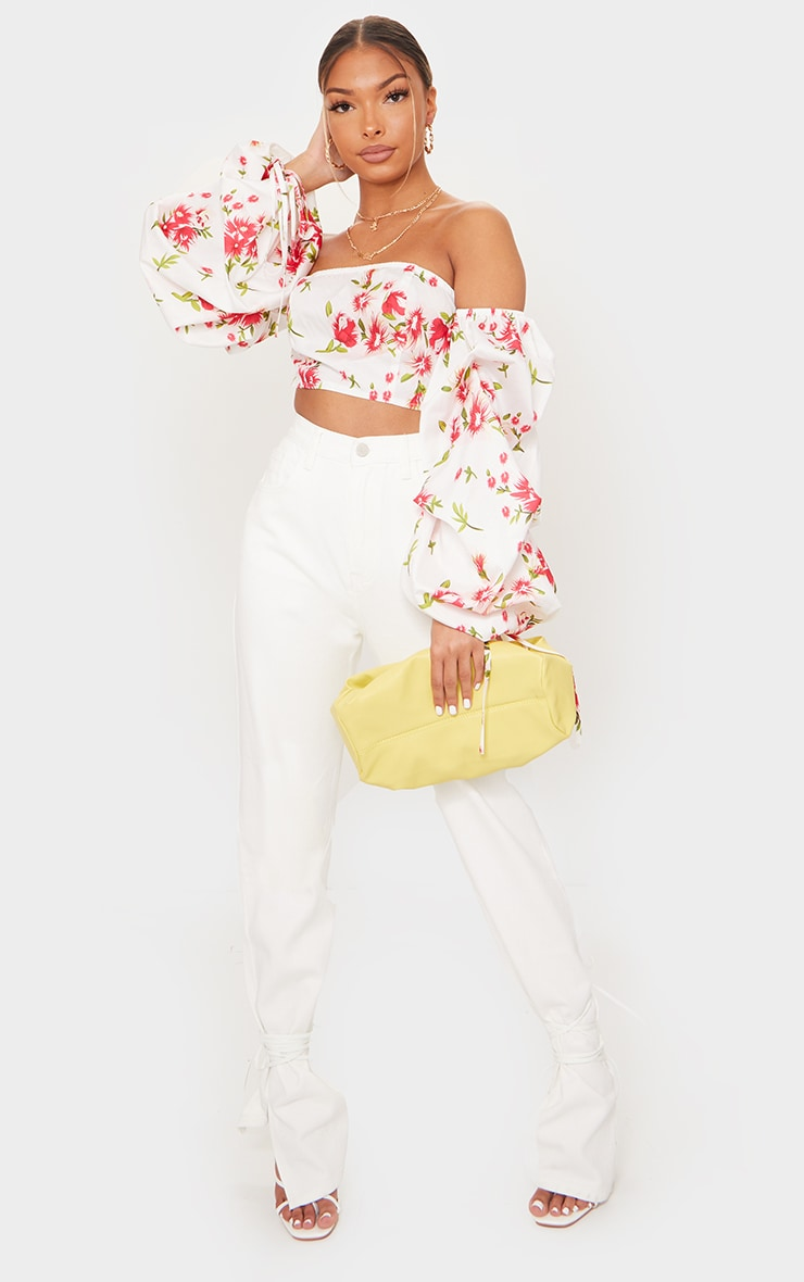 White Floral Printed Bardot Extreme Ruched Sleeve Crop Top 3