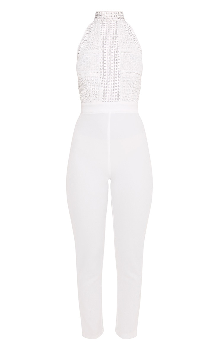 White Lace Embroidery Top Jumpsuit 3