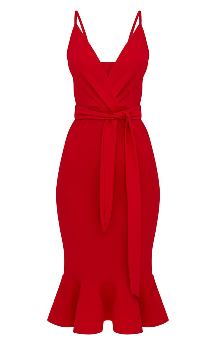 Red Strappy Tie Waist Fishtail Midi Dress 3