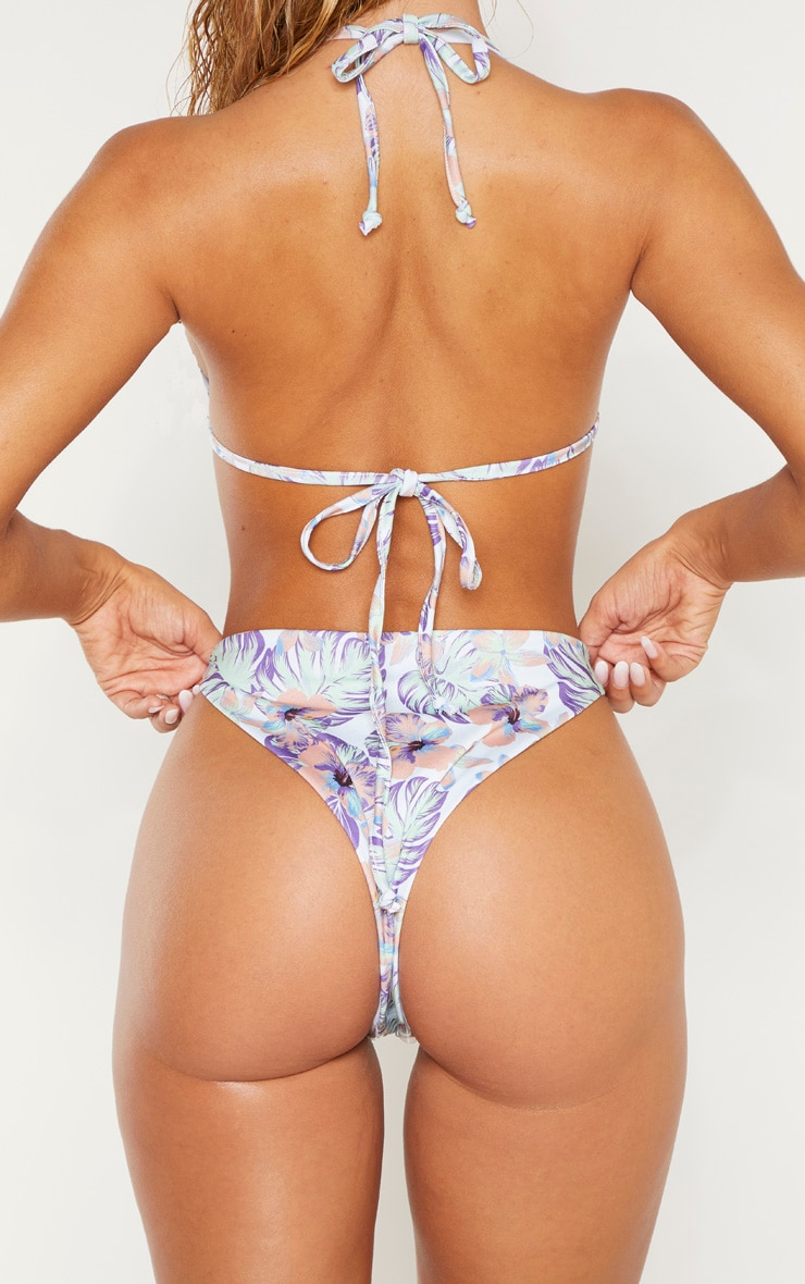 Pastel Hawaiian Print High Brazilian Bikini Bottom 3
