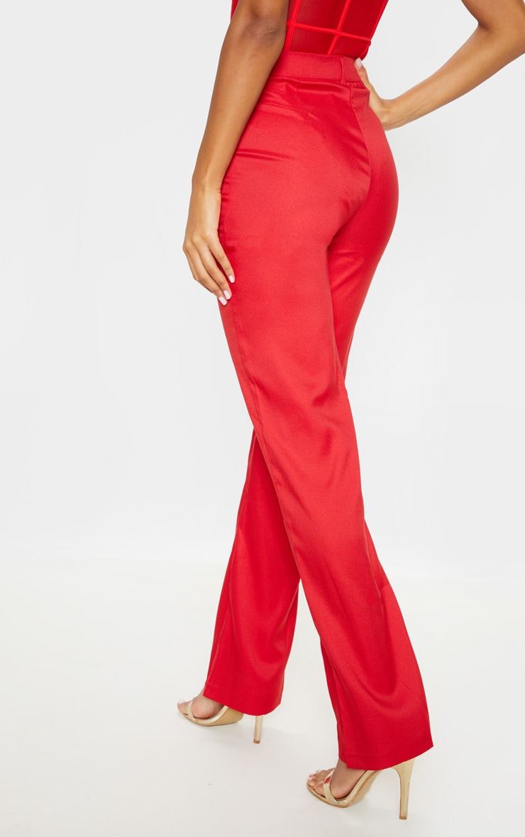 Red High Waisted Straight Leg Trousers 4