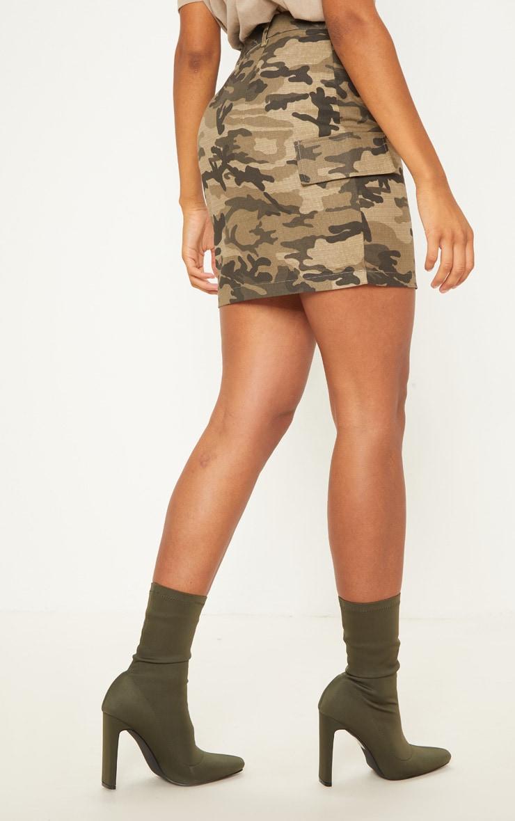 Green Cargo Camo Mini Skirt 4
