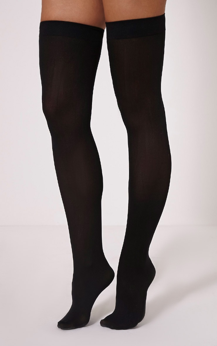 Hunny Black Opaque Hold Ups 1