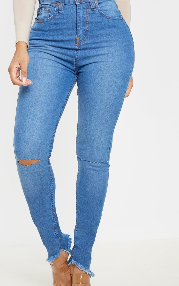 Shape Mid Wash Knee Rip High Waisted Skinny Jeans 5