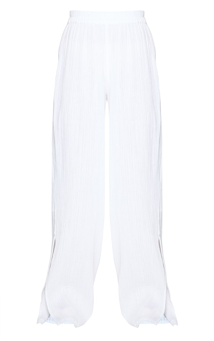 White Textured Cotton Split Hem Wide Leg Pants 5