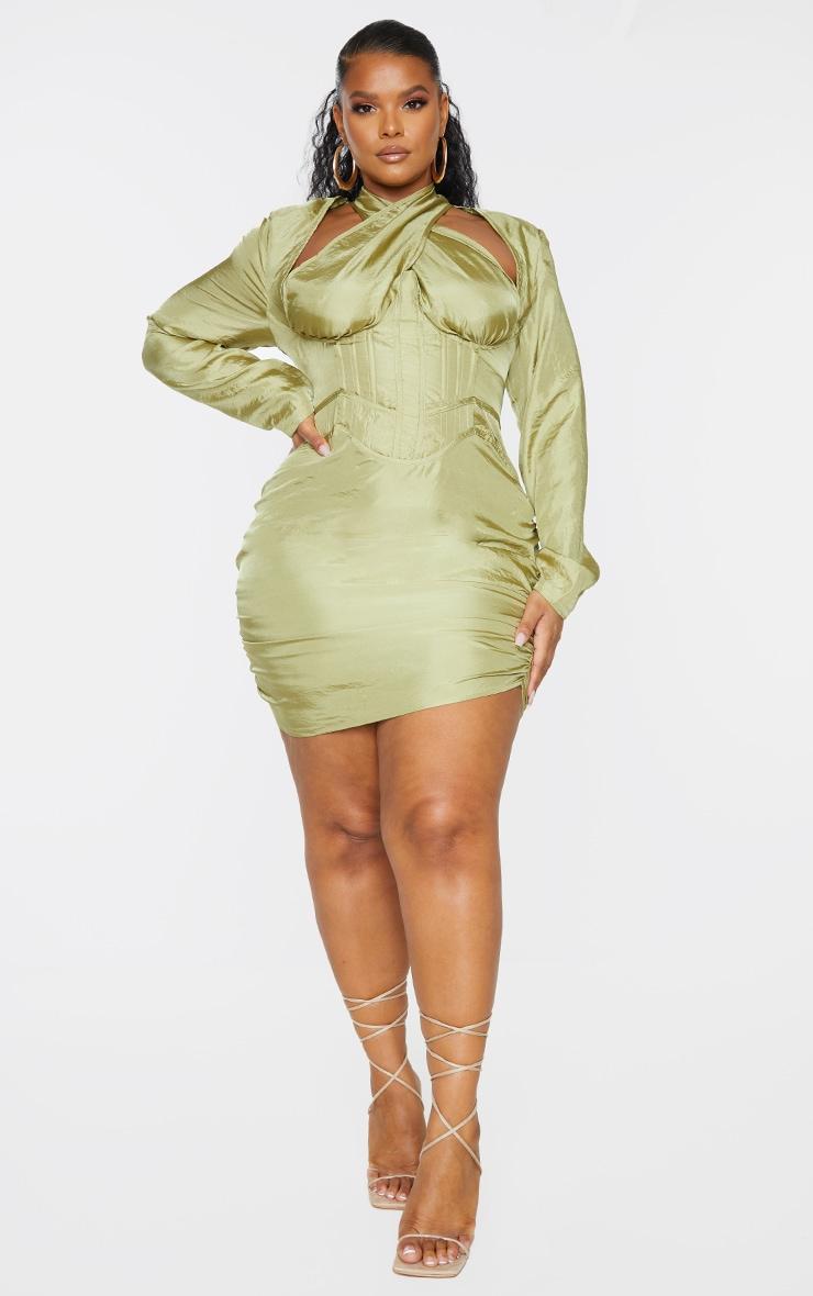 Plus Olive Cut Out Cross Front Corset Bodycon Dress 1