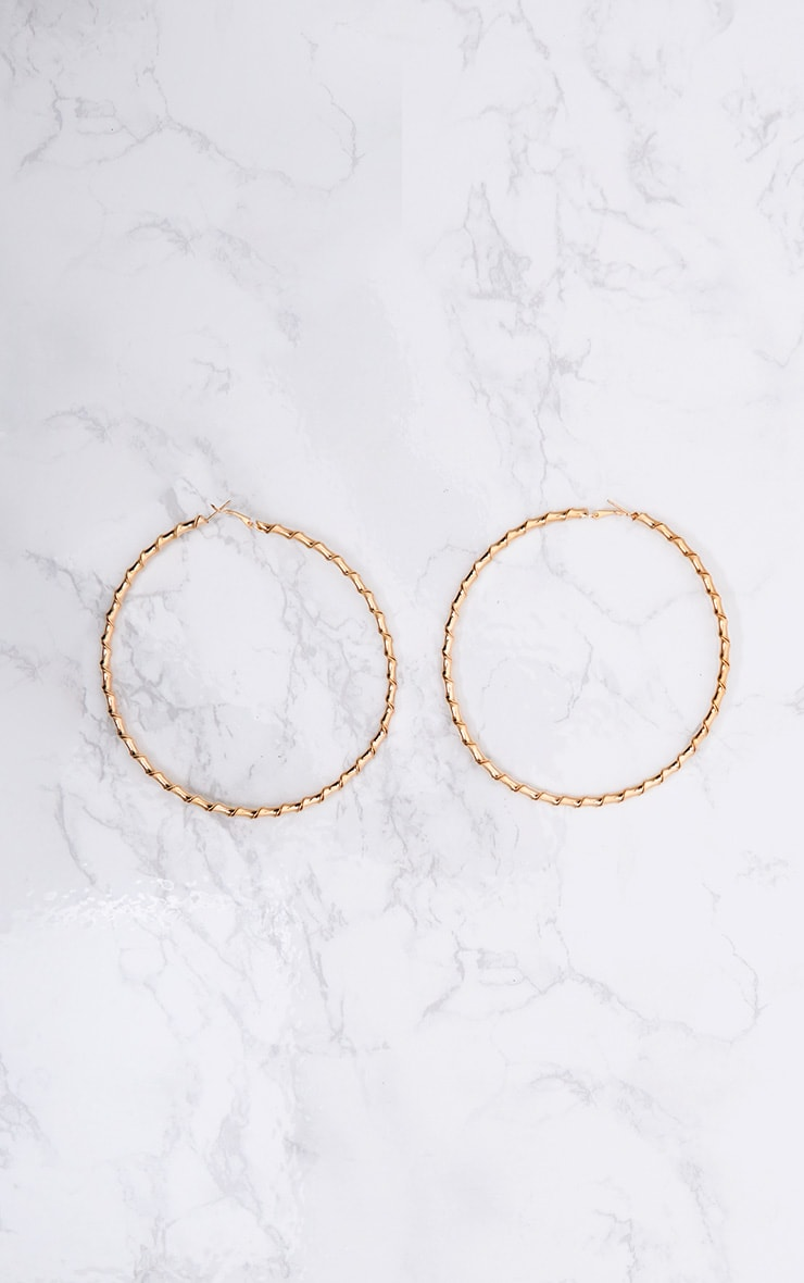 Brynn Gold Big Twisted Metal Hoop Earrings 2