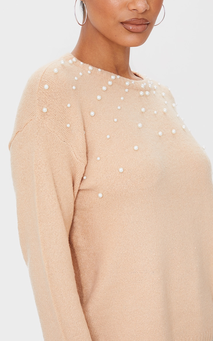 Oatmeal Pearl Detail Crew Neck Sweater 4