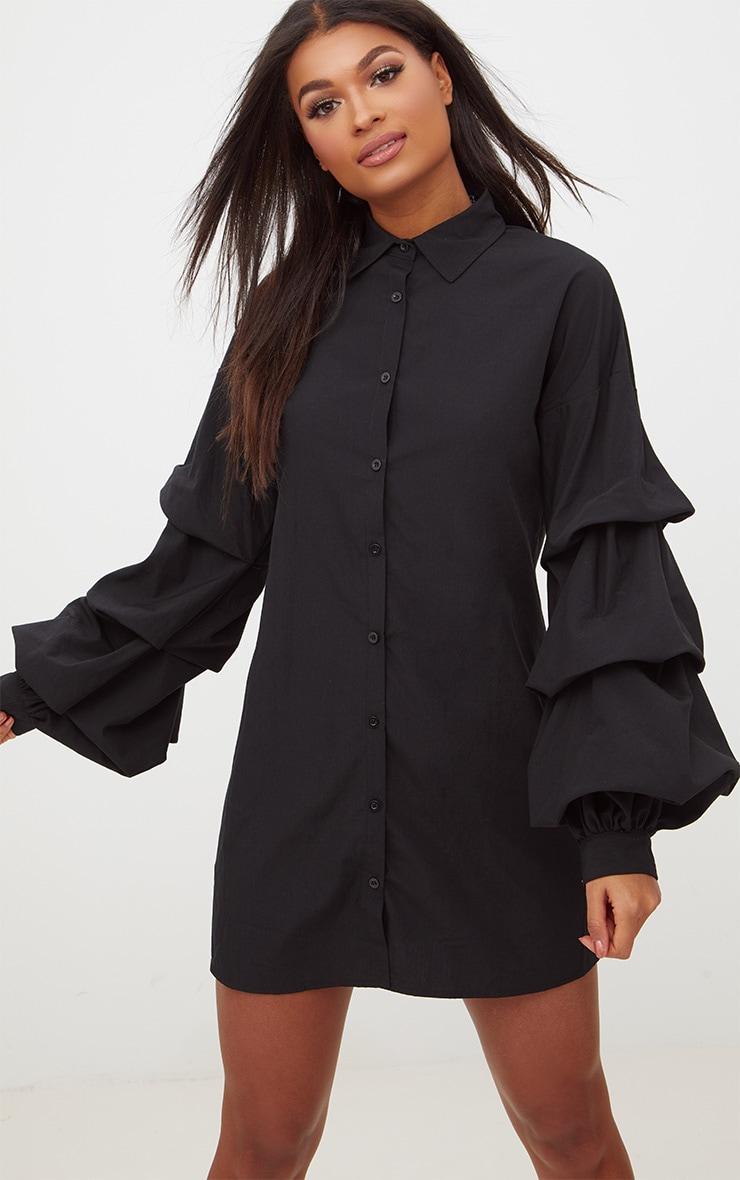 Robe chemise noire volants aux manches 1