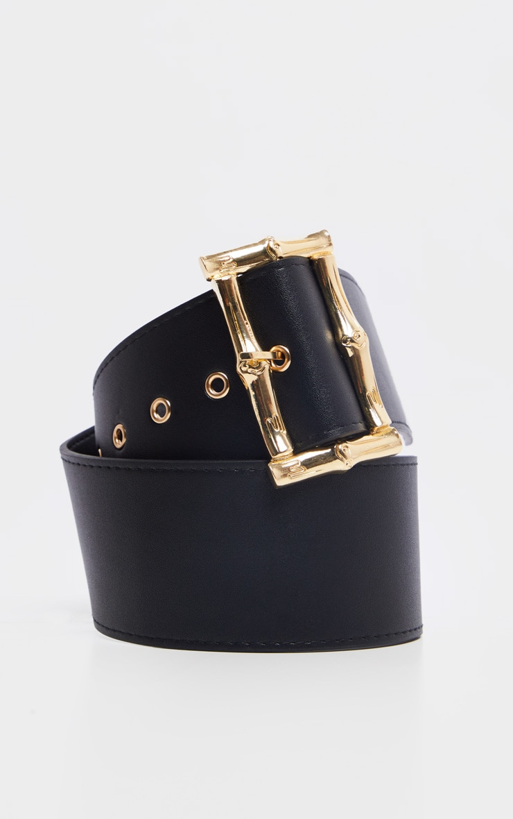 Black Bamboo Effect Buckle Wide Waist Belt 2