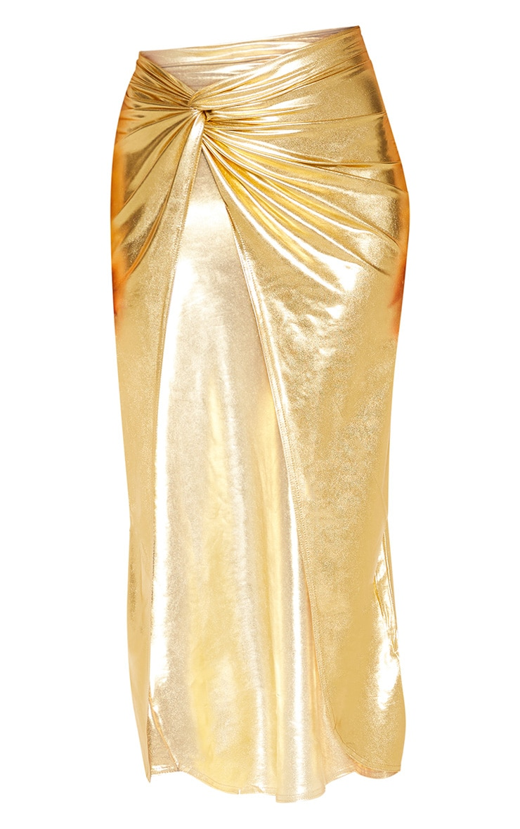 Gold Metallic Slinky Knot Front Midi Skirt 3
