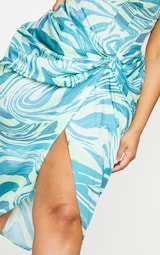 Plus Blue Abstract Print Ruched Side Midi Skirt 4